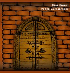 hand drawn door and brick wall vector image