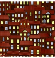 Seamless pattern of european night town vector image vector image