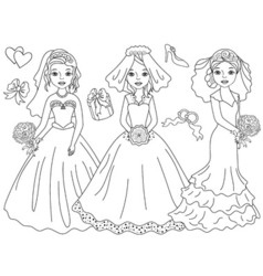 Black and White Brides Set vector image