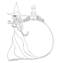 Halloween witch - doodle frame vector image