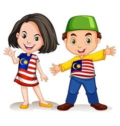 Malaysian girl and boy greeting vector image