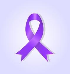 Purple awareness ribbon on purple glow background vector image