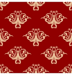 Red on beige floral seamless pattern vector image vector image