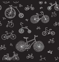 seamless pattern with ethnic style bikes vector image