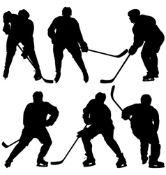 Set of silhouettes hockey player Isolated on vector image vector image