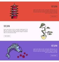 Visit Japan Touristic Web Banners Set vector image