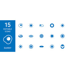 15 sunny icons vector