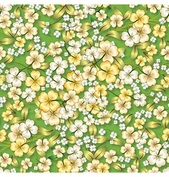 abstract seamless spring floral ornament on green vector image