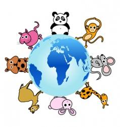 Animal around globe vector