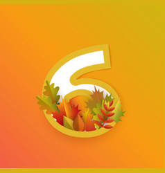 autumn six 6 number with forest leaves vector image