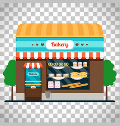 Bakery shop front on transparent background vector