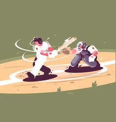 Batter strikes ball in baseball vector
