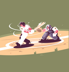 batter strikes the ball in baseball vector image