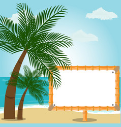 beach landscape with palm trees and editable vector image