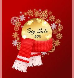 Big winter sale 50 percent off poster snowflakes vector