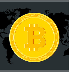 Bitcoin on world map black vector
