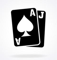 Blackjack cards ace jack spades vector