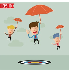 Business cartoon with umbrella on the target vector