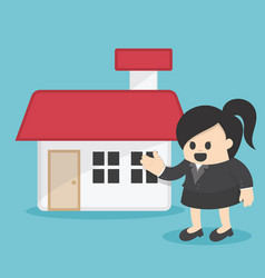 Business woman offering home vector