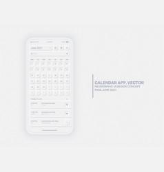 Calendar app june 2021 ui ux neumorphic design vector