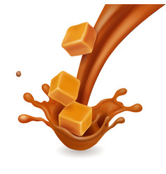 caramel candies in splash realistic vector image