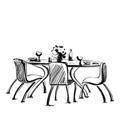 Chair and table with drink and dishes on it vector