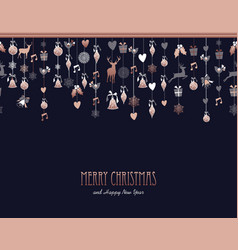 christmas and new year copper decoration ornaments vector image