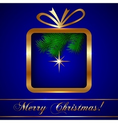 Christmas Greeting Card with Gift vector image