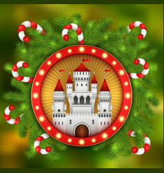 christmas white castle candy sticks and fir-tree vector image