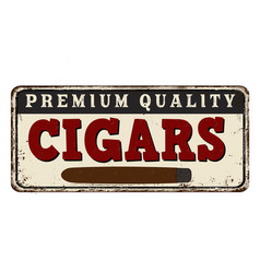 Cigars vintage rusty metal sign vector