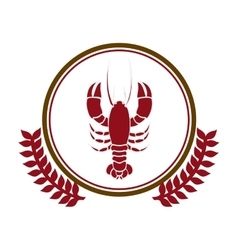 circular border with crown branch with lobster vector image