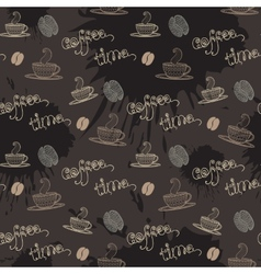 Coffe timeSeamless pattern with thematic elements vector image