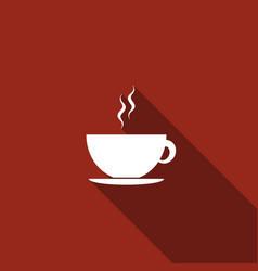 coffee cup flat icon with long shadow tea cup vector image vector image