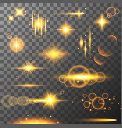 Collection different flare light effects lens vector