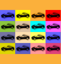 colorful background with black cars vector image