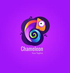 Colorful chameleon logo premium for your b vector