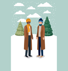 couple of men in snowscape with winter clothes vector image