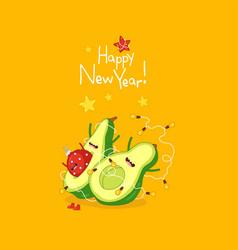 cute avocado wish you a happy new year vector image