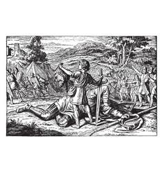david holds head slain goliath vintage vector image