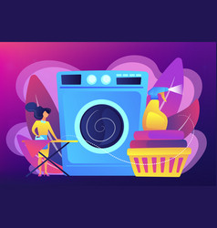 Dry cleaning and laundering concept vector