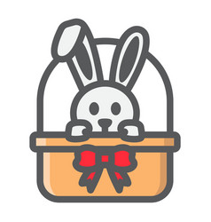 Easter bunny in basket filled outline icon vector