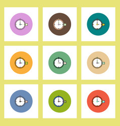 Flat icons set of time is money concept on vector