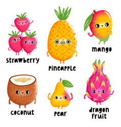 Fruit characters set 1 vector
