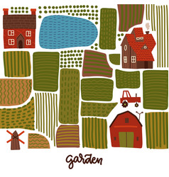 garden agriculture and farm square banner concept vector image
