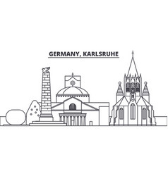 Germany karlsruhe line skyline vector