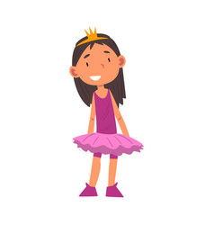 Girl wearing ballerina costume and crown cute kid vector