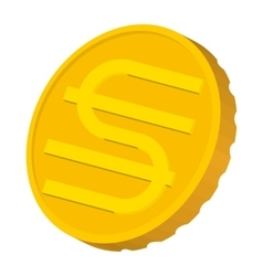 Gold coin with Hryvnia sign icon cartoon style vector image