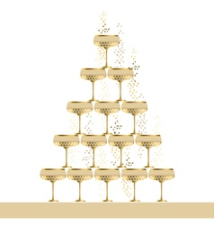 Gold sparkling champagne glass pyramid flat vector