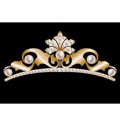 Gold tiara with pearls vector image