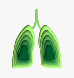 Green lungs in paper craft style 3d abstract vector